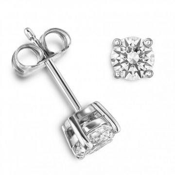 Classic Four Claw Round Brilliant Cut Diamond Single Stone Earrings