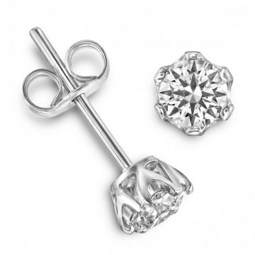 Traditional 6 Claw Round Brilliant Cut Diamond Single Stone Earrings