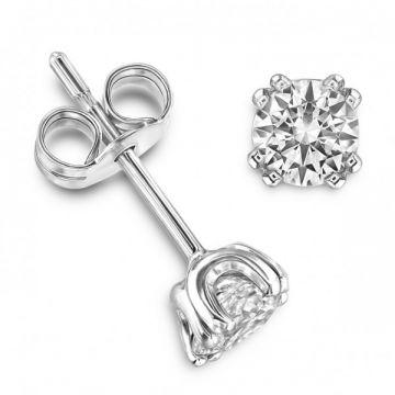 Modern Twin Claw Round Brilliant Cut Diamond Single Stone Earrings