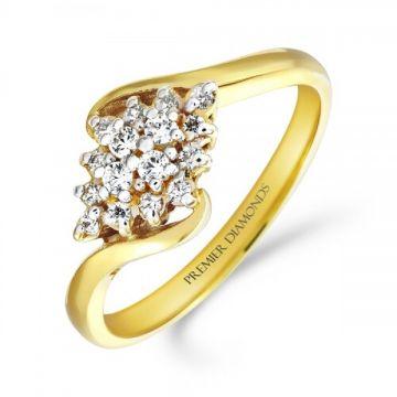Classic diamond shaped cluster ring set on a twist 0.20 carat