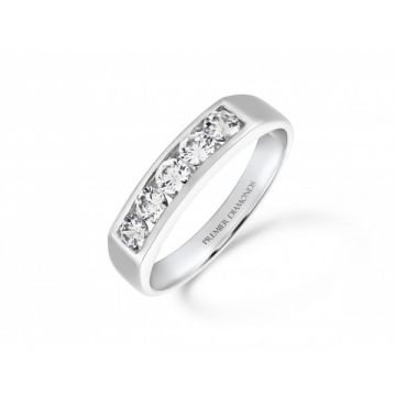 Stunning modern 5 stone round brilliant cut diamond channel set eternity ring 0.50 carat