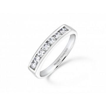 Stunning modern 7 stone round brilliant cut diamond channel set eternity ring 0.42 carat