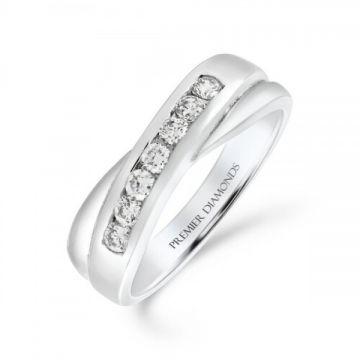 7 stone round brilliant cut diamond channel set crossover ring 0.30 carat