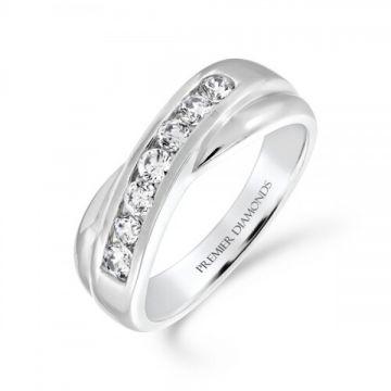 7 stone round brilliant cut diamond channel set crossover ring 0.45 carat