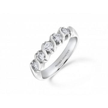 Stylish 5 stone round brilliant cut diamond bar set eternity ring with polished detail 0.50 carat