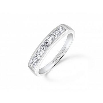 Stunning modern princess cut diamond channel set eternity ring 0.60 carat