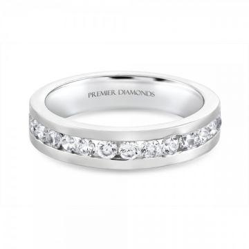 Stunning modern 14 stone round brilliant cut diamond channel set half eternity ring 0.63 carat