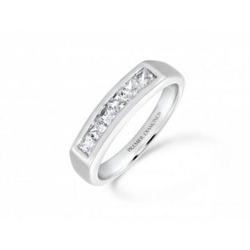 Stunning modern princess cut diamond channel set eternity ring 0.75 carat
