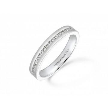 Stunning modern round brilliant cut diamond channel set half eternity ring  0.20 carat