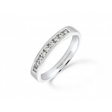 Stunning modern 9 stone round brilliant cut diamond channel set eternity ring 0.27 carat