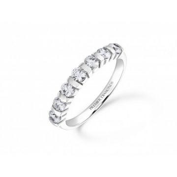 Modern 7 stone bar set round brilliant cut diamond eternity ring with polished detailing 0.70 carat