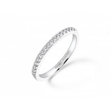 Delicate grain set round brilliant cut diamond half eternity ring 0.21 carat