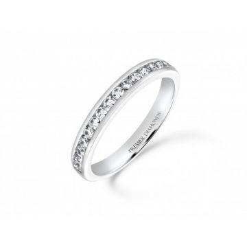 Classic channel set round brilliant cut diamond half eternity ring 0.34 carat