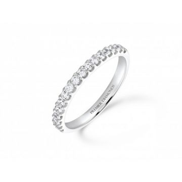 Delicate claw set round brilliant cut diamond half eternity ring 0.34 carat