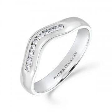 9 stone channel set round brilliant cut diamond wishbone ring 0.09 carat