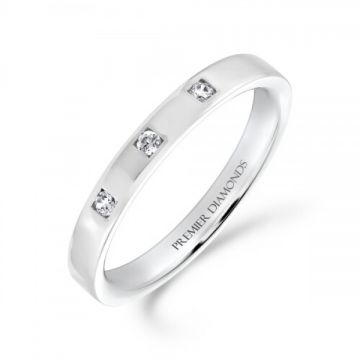 3.00mm classic heavy flat court wedding band set with 3 round brilliant cut diamonds in a square design 0.08 carat