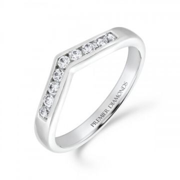 Classic 9 stone channel set round brilliant cut diamond wishbone ring 0.18 carat