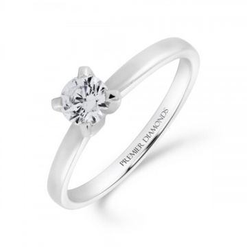 Classic four claw round brilliant cut single stone diamond engagement ring 0.33 carat
