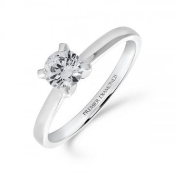 Classic four claw round brilliant cut single stone diamond engagement ring 0.50 carat