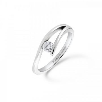 Modern channel set round brilliant cut diamond engagement ring 0.16 carat