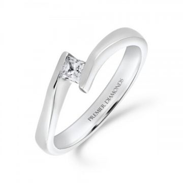 Heavy tension set princess cut diamond solitaire engagement ring 0.15 carat