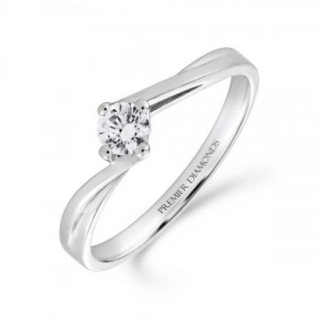 Round brilliant cut diamond single stone engagement ring on a slight twist 0.20 carat