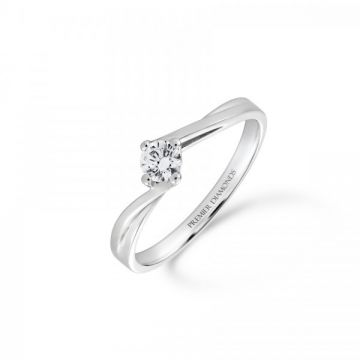 Round brilliant cut Diamond Single stone on a slight twist 0.25 carat