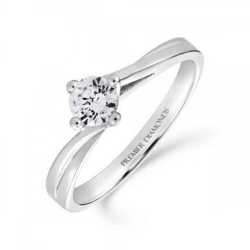 Round brilliant cut diamond single stone engagement ring on a slight twist 0.40 carat