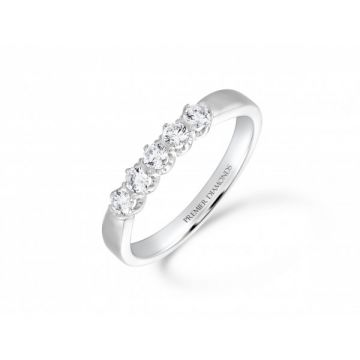 Stunning 5 stone claw set round brilliant cut diamond eternity ring with polished detail 0.30 carat
