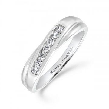 7 stone round brilliant cut diamond channel set crossover ring 0.20 carat