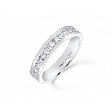 Stunning modern 15 stone round brilliant cut diamond channel set half eternity ring 0.53 carat