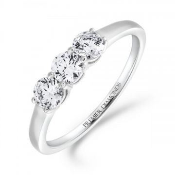 Modern low set 3 stone round brilliant cut diamond trilogy ring 0.75 carat