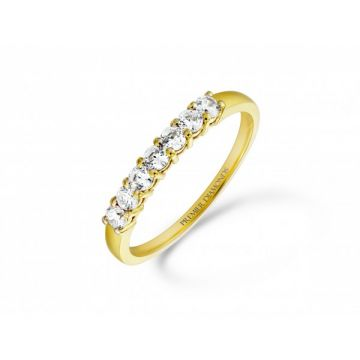 Sophisticated classic 7 stone claw set round brilliant cut diamond eternity Ring 0.42 carat