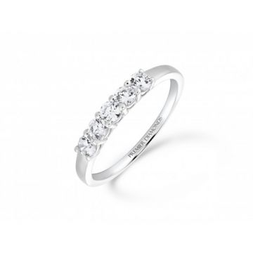 Sophisticated classic 5 stone claw set round brilliant cut diamond eternity ring  0.50 carat