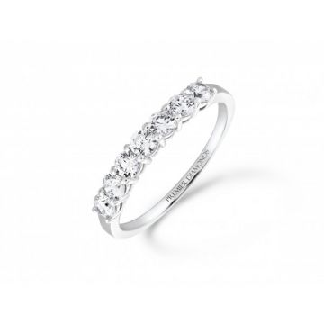 Sophisticated classic 7 stone claw set round brilliant cut diamond eternity ring  0.70 carat