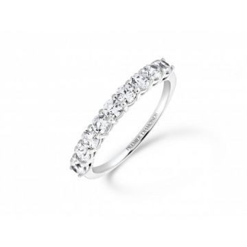 Sophisticated classic 9 stone claw set round brilliant cut diamond eternity ring 0.90 carat