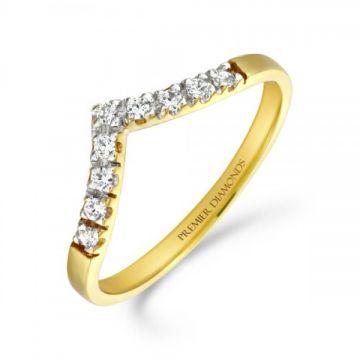 Classic 9 stone claw set round brilliant cut diamond wishbone ring 0.09 carat