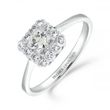 Classical square diamond cluster ring with round brilliant cut central diamond and polished shoulders 0.40 carat