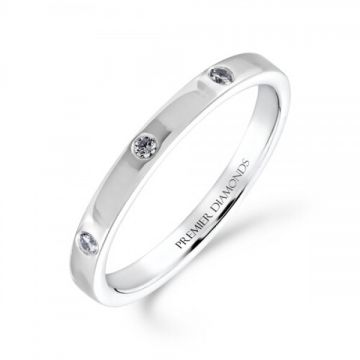 2.20mm classic heavy flat wedding band set with 8 equally spaced round brilliant cut diamonds 0.12 carat