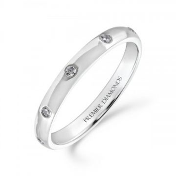 2.50mm classic heavy court wedding band set evenly with 8 round Brilliant cut diamonds 0.12 carat