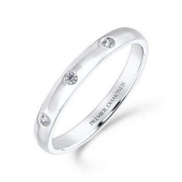2.50mm classic heavy court wedding band set with 3 round brilliant cut diamonds equally spaced on the top of the band 0.05 carat