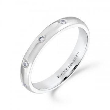 3.20mm classic heavy court wedding band set evenly with 8 round Brilliant cut diamonds 0.12 carat