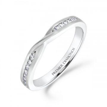 Stunning round brilliant cut diamond channel set crossover ring 0.12 carat