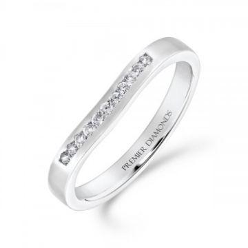 Round brilliant cut diamond channel set wishbone ring 0.10 carat