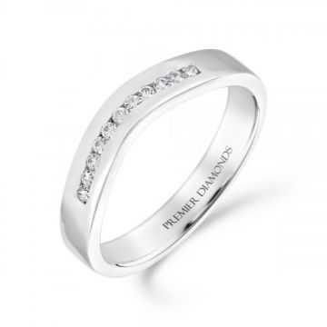 Intricately shaped round brilliant cut diamond channel set wishbone ring 0.10 carat