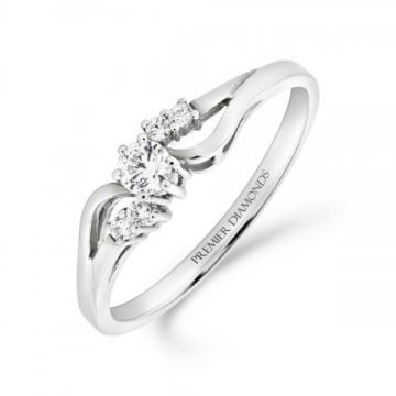 Elegant diamond single stone crossover engagement ring with diamond set shoulder detail 0.20 carat