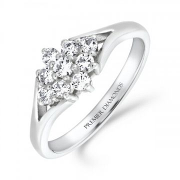 Stunning nine stone round brilliant cut diamond cluster ring with split polished shoulders 0.45 carat