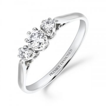 Traditional 3 stone round brilliant cut diamond trilogy ring 0.30 carat