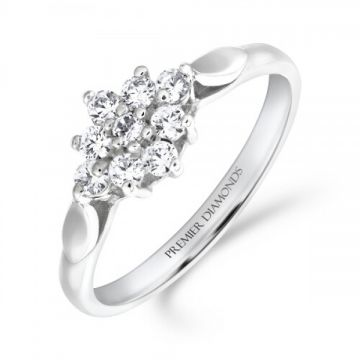 Stunning nine stone round brilliant cut diamond cluster ring with petal detail shoulders 0.35 carat