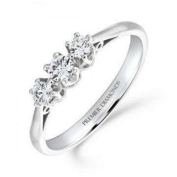 Traditional 3 stone round brilliant cut diamond trilogy ring with polished shoulders 0.36 carat